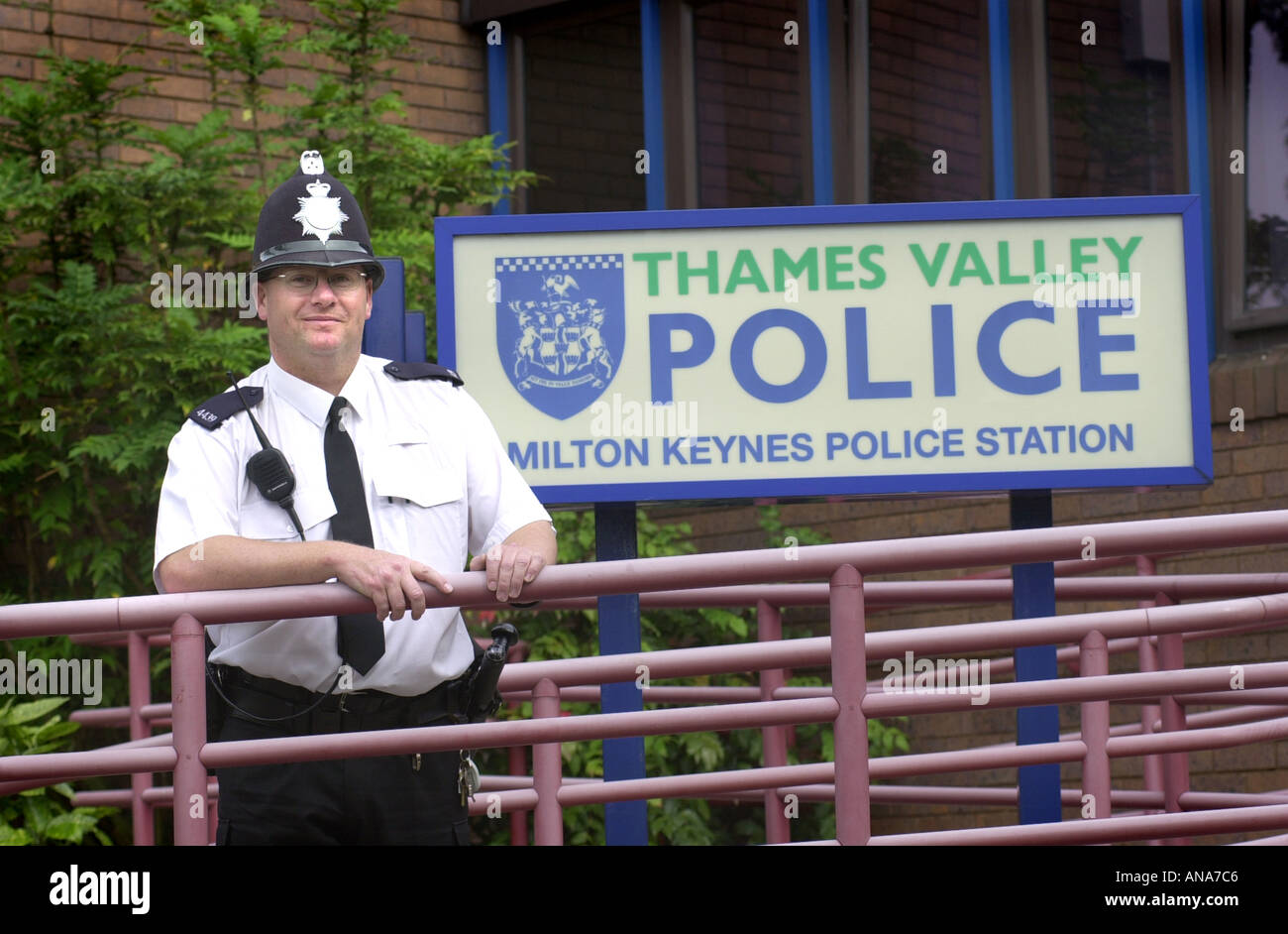 Thames valley police officer ouside the Milton Keynes station UK - Stock Image