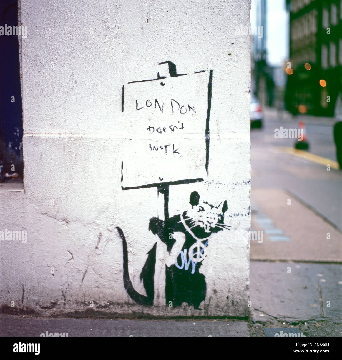 Banksy rat stencil  'London doesn't work' in the City of London, England UK  KATHY DEWITT - Stock Image