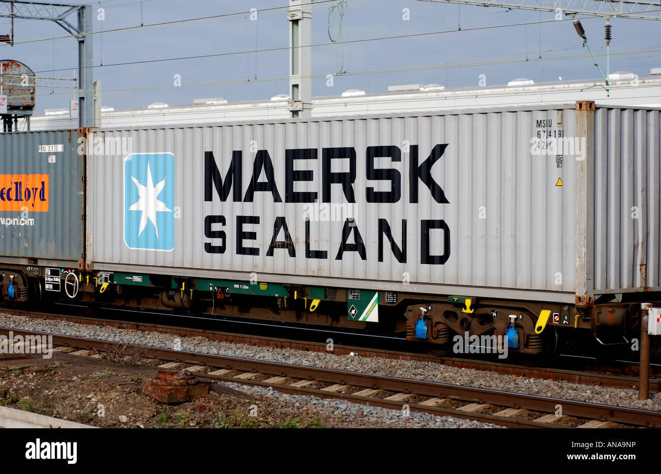 Maersk Sealand shipping container on train at Rugby, UK