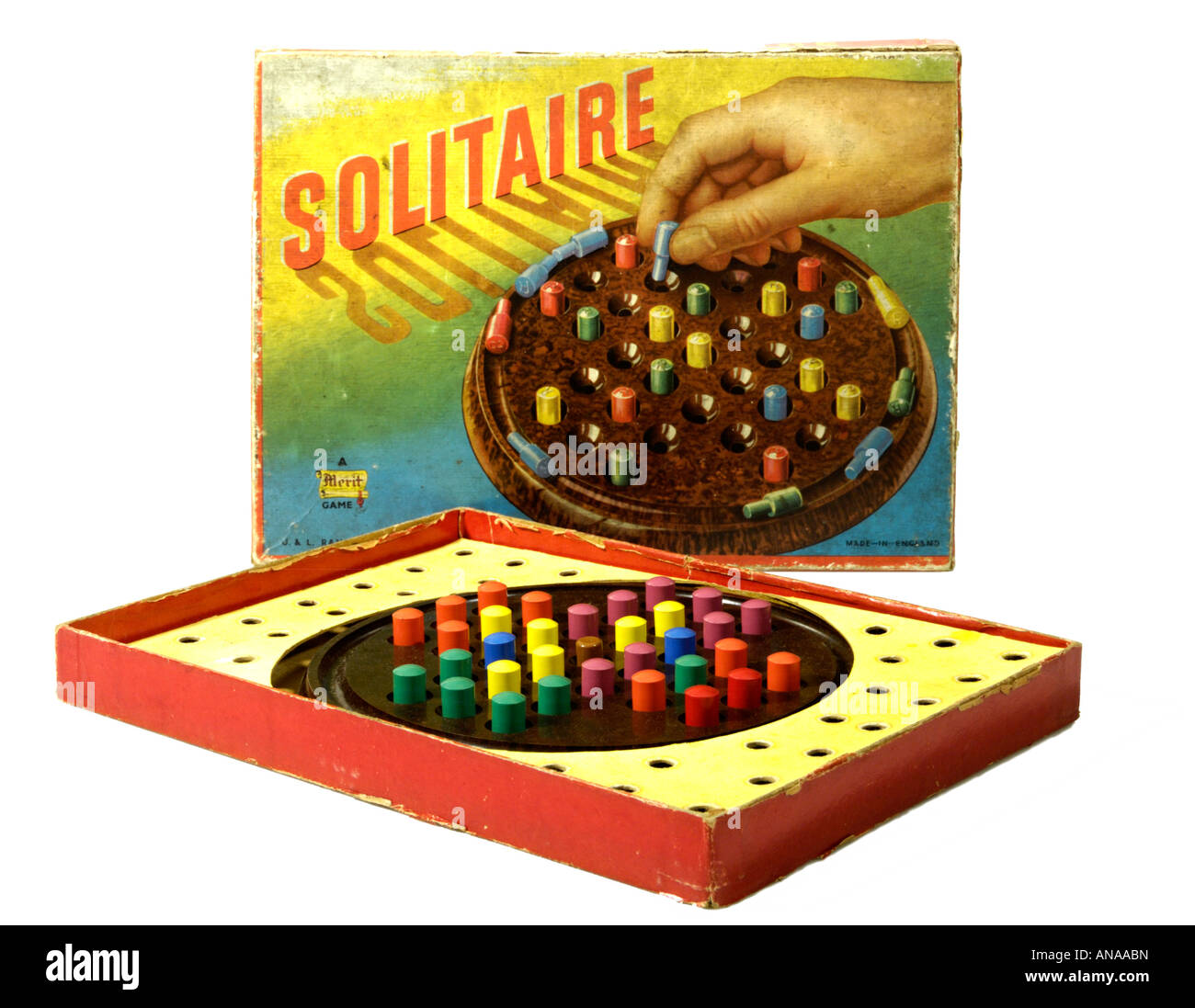 Solitaire game Merit Toys 1950s - Stock Image