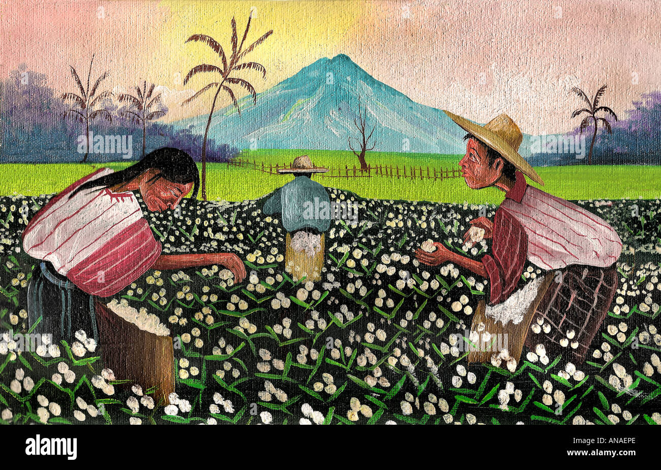 Painting of Maya indians from San Antonio Palopo picking cotton on planations of Guatemala - Stock Image
