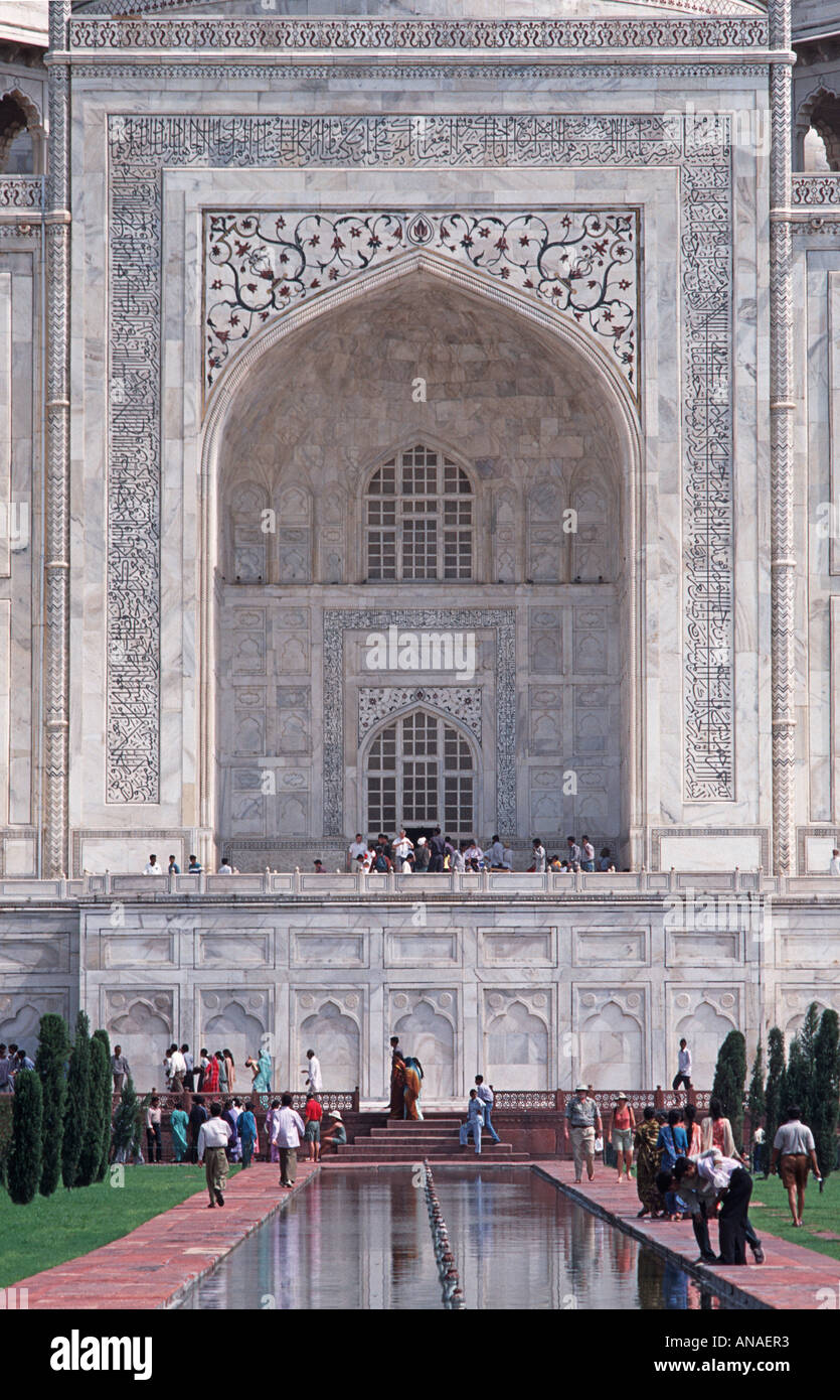 The Taj Mahal built 1632 by the Emperor Shahjahan in memory of beloved wife Mumtaz Mahal died 1631 India - Stock Image
