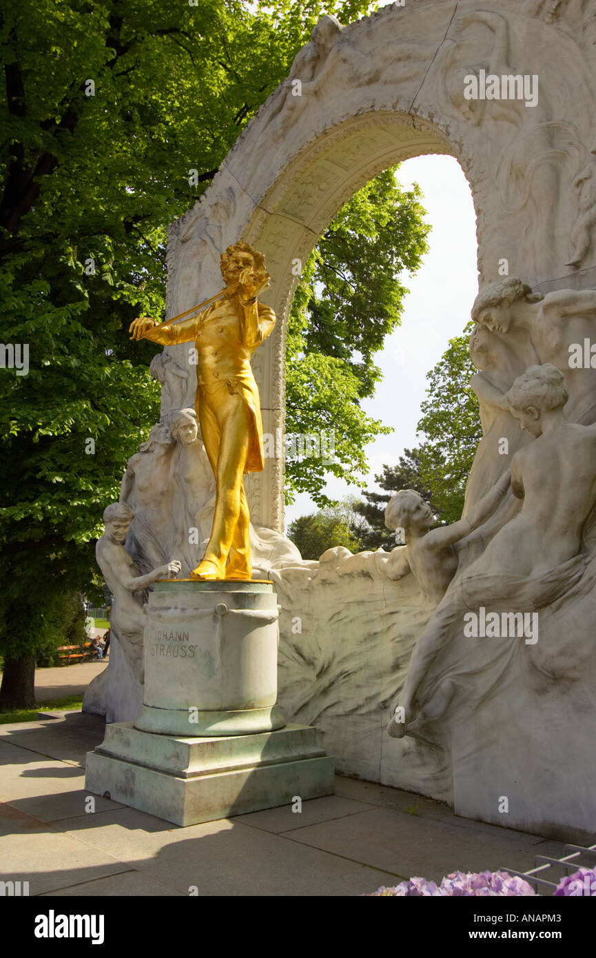 The Guilded Statue Of Johann Strauss II in Vienna Austria Stock Photo