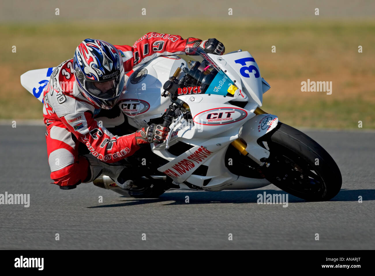 SA Supersport bike action (Royce Odendaal, Yamaha R6), Phakisa racetrack, Welkom, South Africa (5 May 2007) - Stock Image