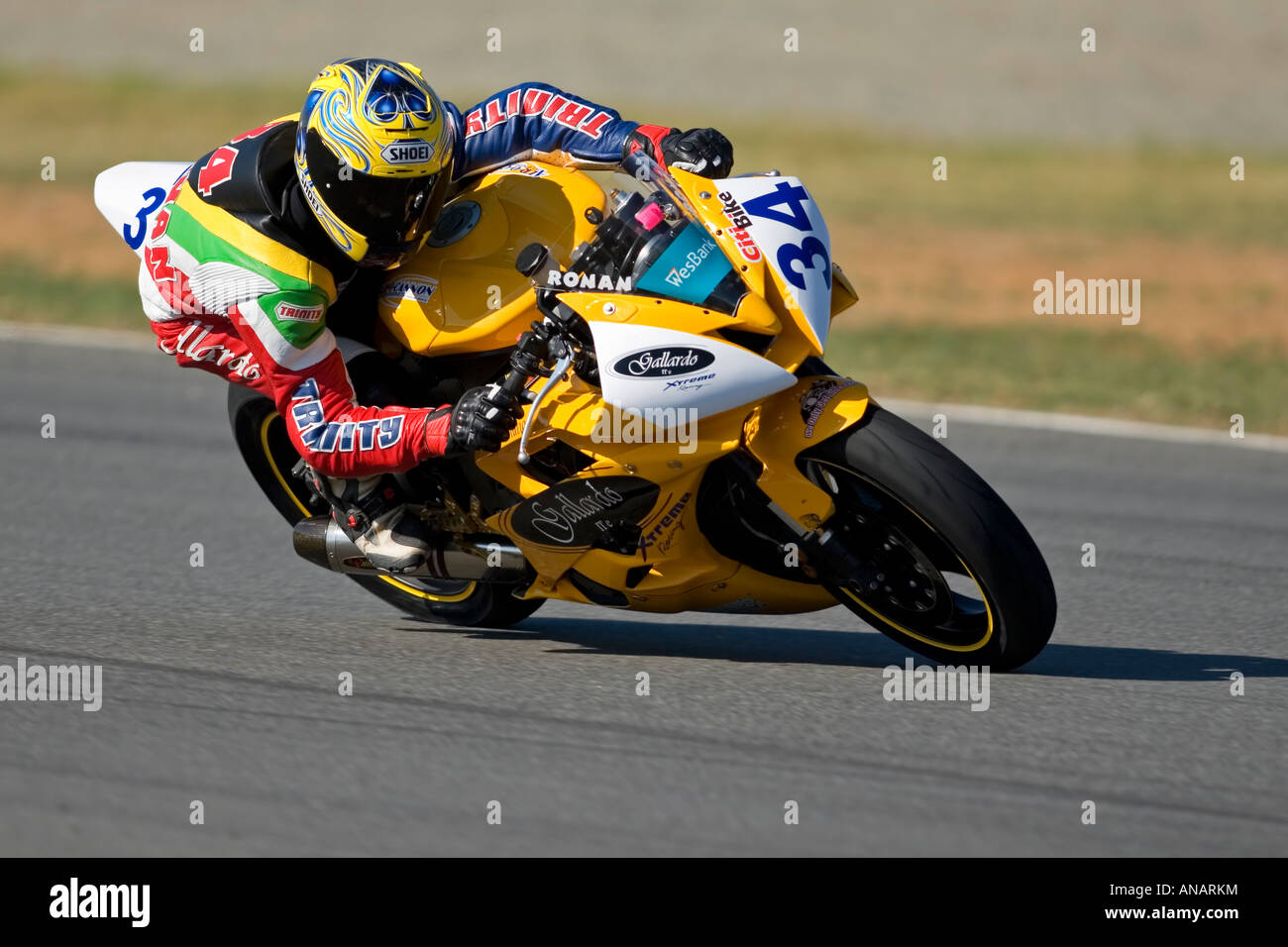 Supersport bike action (Ronan Quarmy, Yamaha R6), Phakisa racetrack, Welkom, South Africa (5 May 2007) - Stock Image
