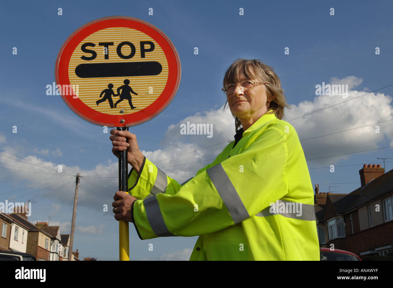Lollipop lady Maureen Thoroughgood of Margate, Kent - Stock Image
