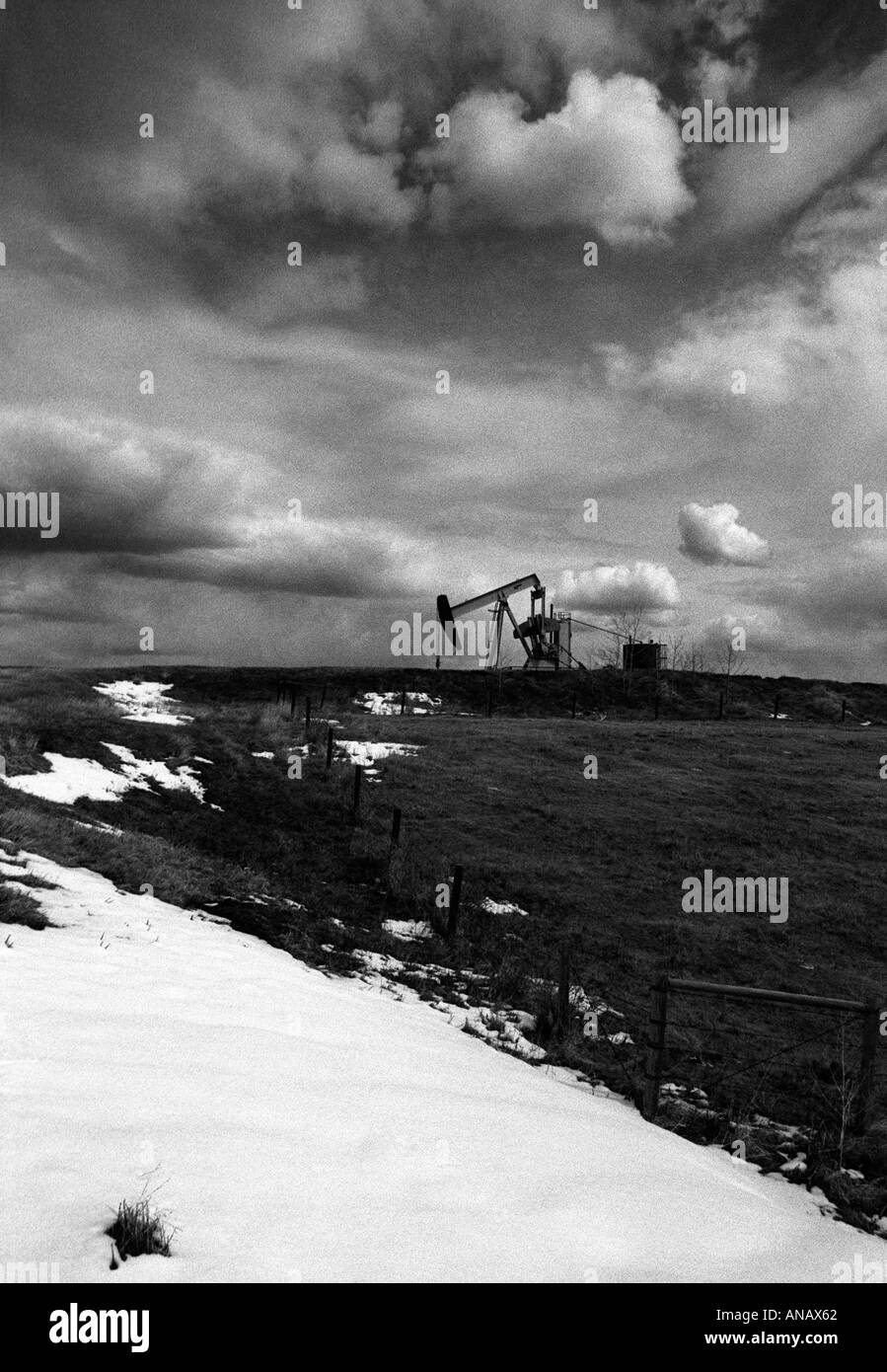 Canada. Working Oil Donkey in a snowy landscape - Stock Image