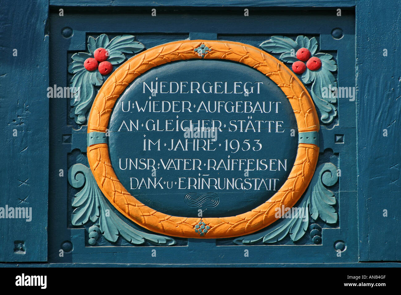 German Framework Road. Wooden plate with inscription at a framework facade in Idstein, Hesse, Germany, - Stock Image