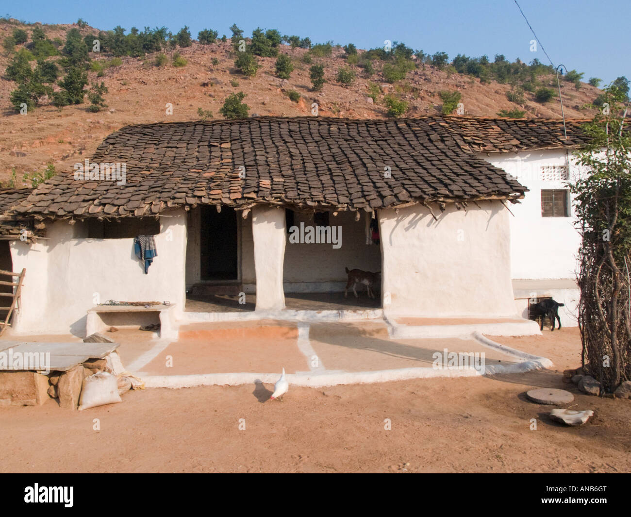 madhya pradesh india asia typical small rural village house with white ANB6GT - 47+ Small House Design For Village In India PNG
