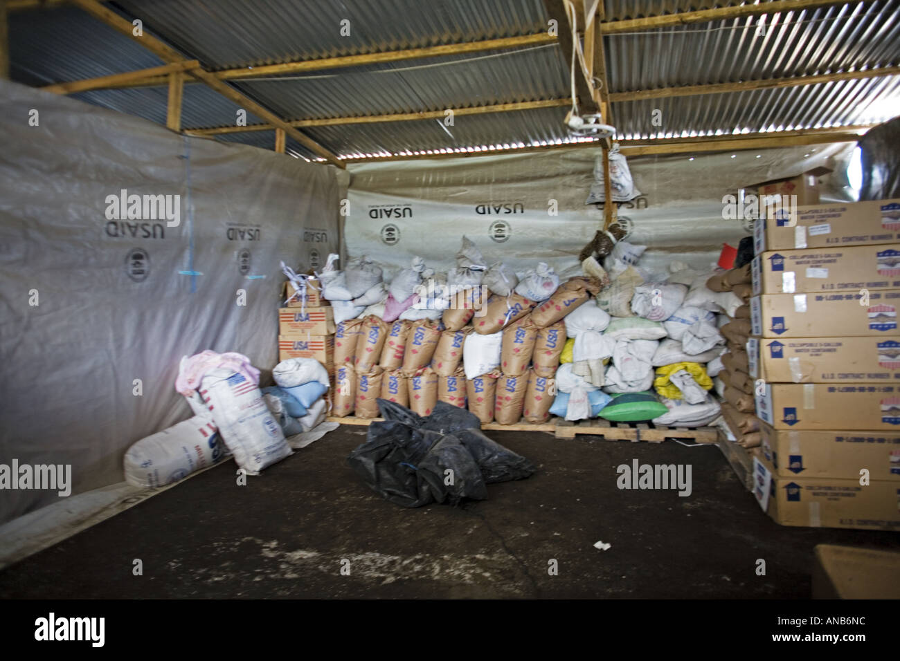 GUATEMALA TZANCHAJ Disaster relief supplies in the refugee camp Stock Photo