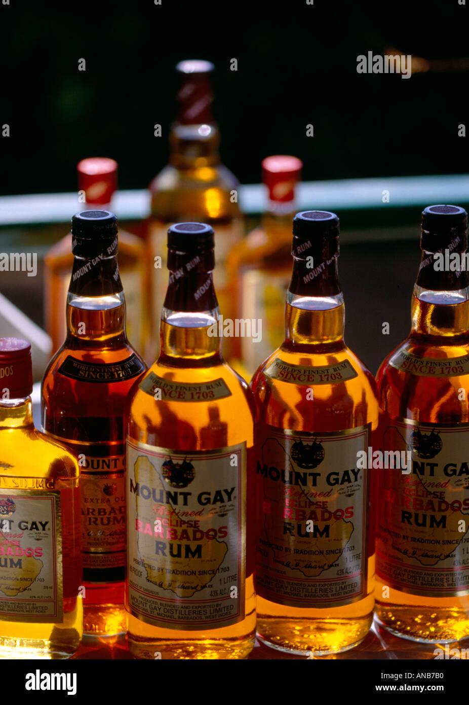 Barbados Rum bottles in Mt Gay Distillery - Stock Image