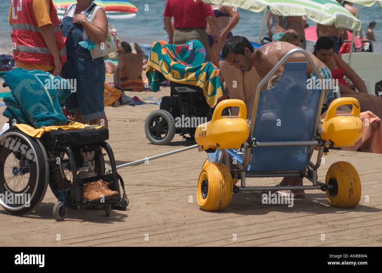 Beach on Gran Canaria with access and facilities for wheelchair users Stock Photo