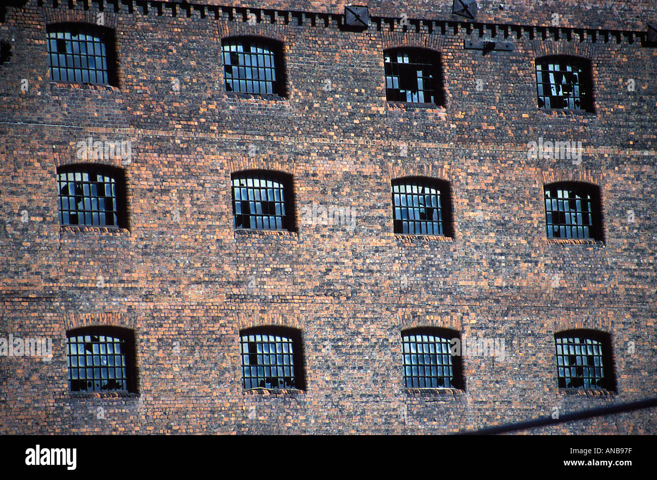 Close up detail shot of Stanley Dock Warehouse Liverpool 1848 by Jesse Hartley Stock Photo