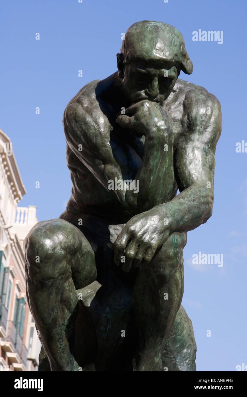 The Thinker Bronze sculpture by Auguste Rodin 1840 to 1917 Calle Marques de Larios Malaga Costa del Sol Spain - Stock Image