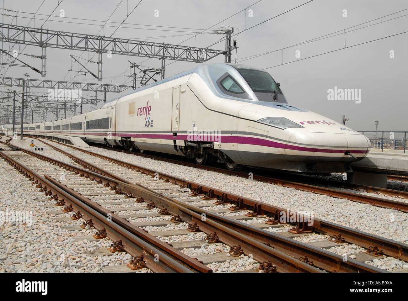 Ave Talgo Renfe. Spain railway. High speed train Stock ...