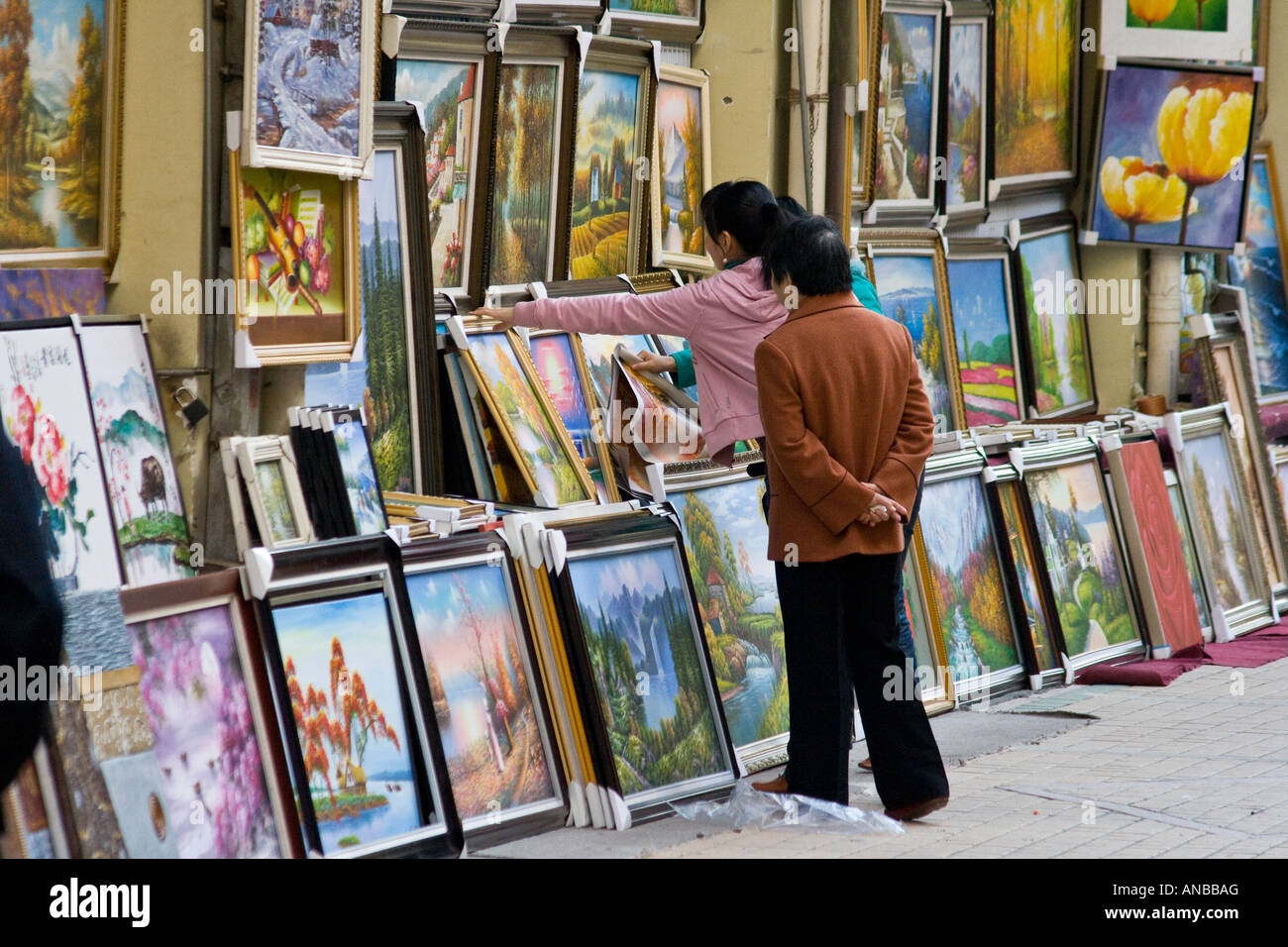 Oil Paintings at an Art Gallery Da Fen Painting Village Shenzhen China Stock Photo