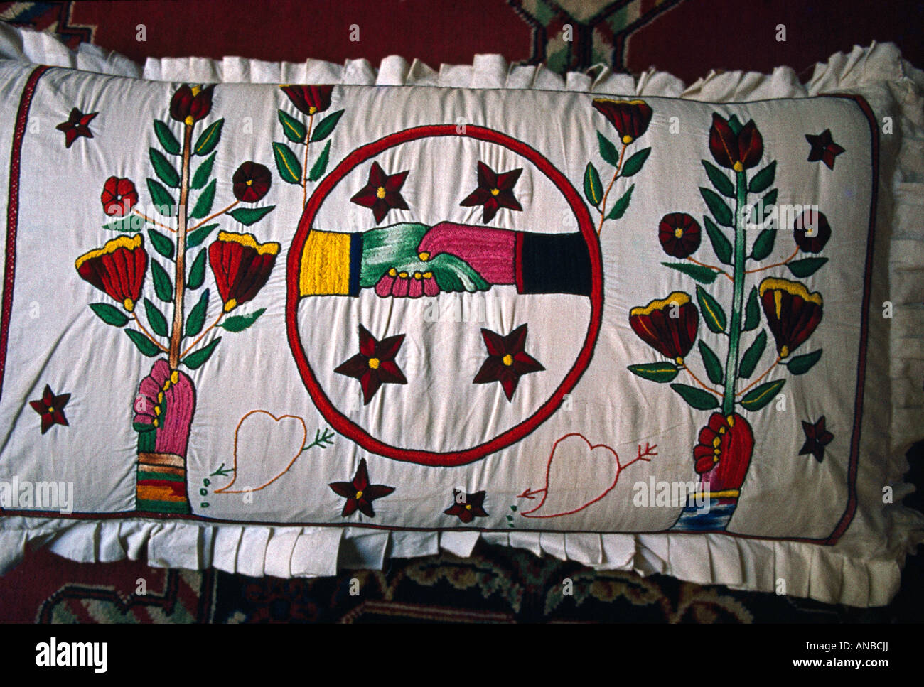 Asir Saudi Arabia Embroidered Cushion - Stock Image