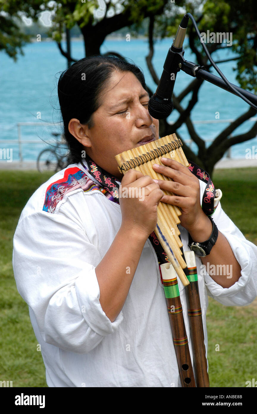 Myan Indian Plays Music With Wood Instrument - Stock Image