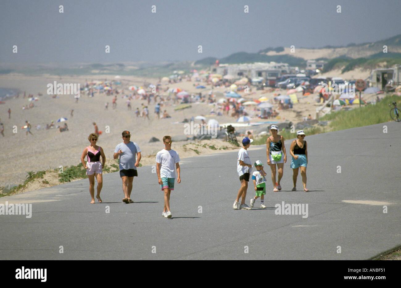 Beach Swimming Activities at Cape Cod National Seashore Massachusetts - Stock Image