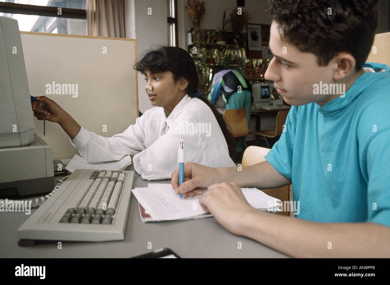 secondary school children on computers - Stock Image
