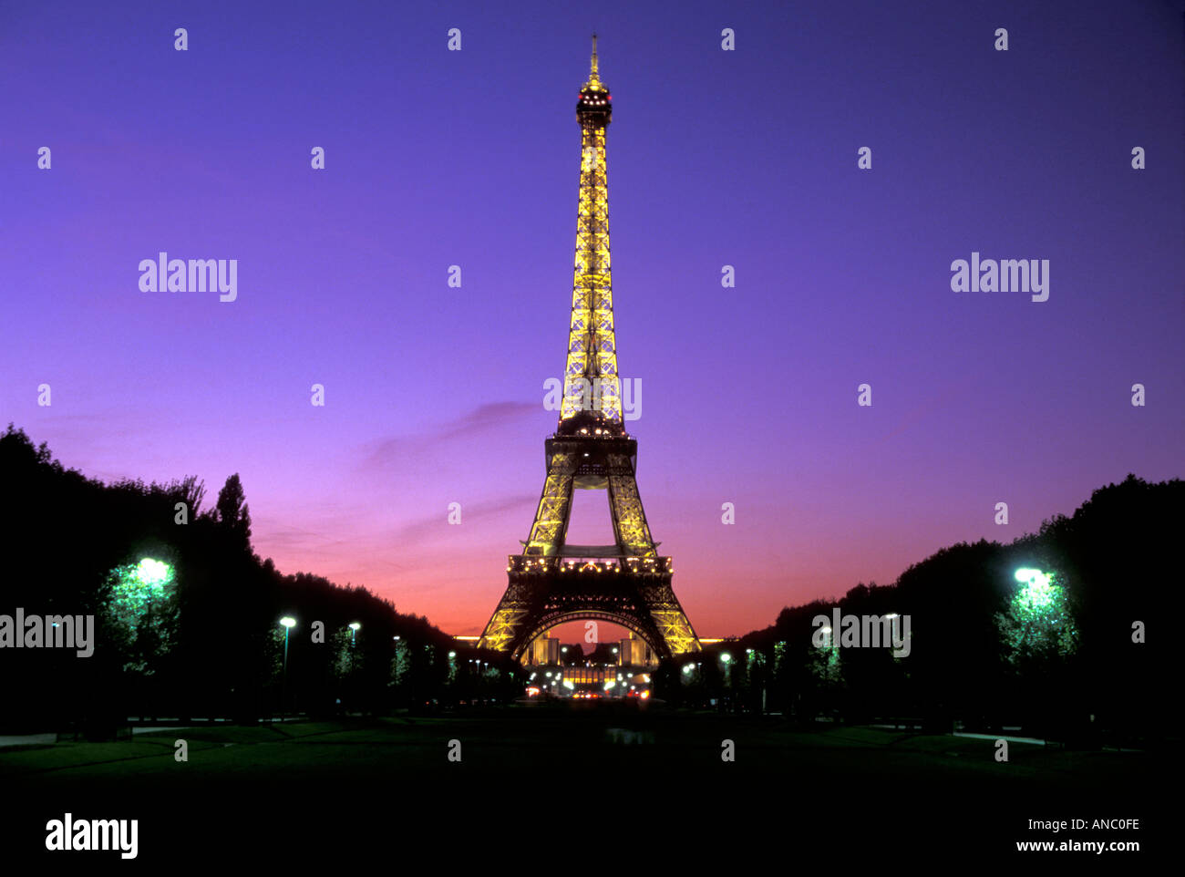 Europe France Paris Eiffel Tower At Sunset From The Champ De Mars Stock Photo Alamy