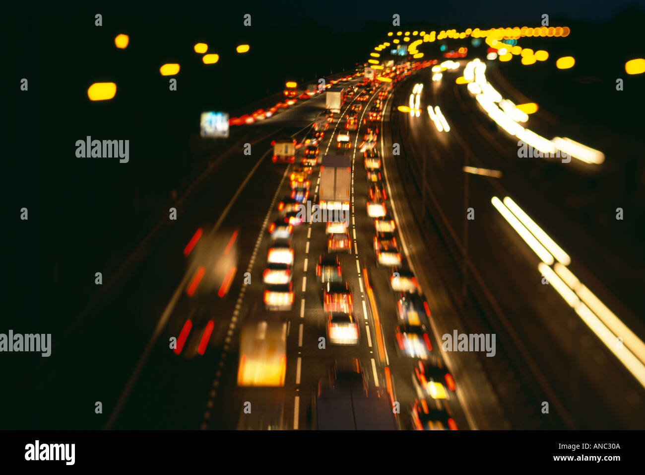 Traffic jam on M25 motorway UK - Stock Image