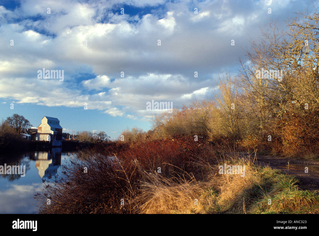 F00048 tiff Kompf Grain Mill with clouds and reflection in Longtom Rover Oregon - Stock Image