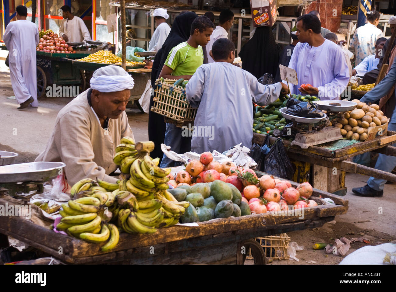Egypt - Luxor local market souk selling fruit and vegetables Stock Photo