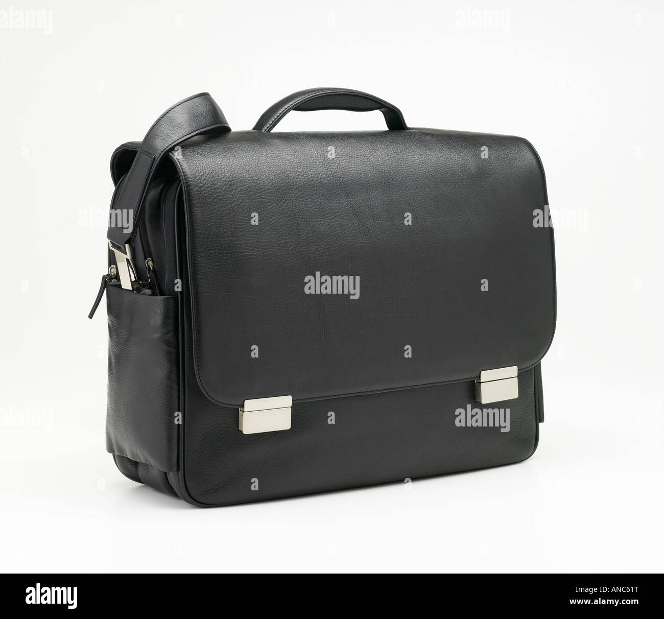 small suitcase carrying case buisness 24 hours skin hide black elegant work - Stock Image