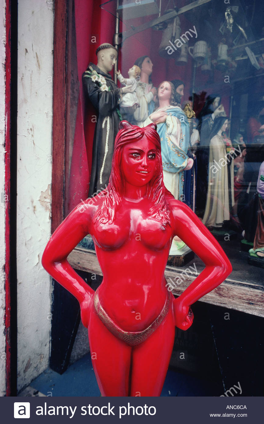 BRAZIL Bahia State city of Salvador statue of Pomba Gira wife of the Devil in the Afro Brazilian Umbanda cult - Stock Image