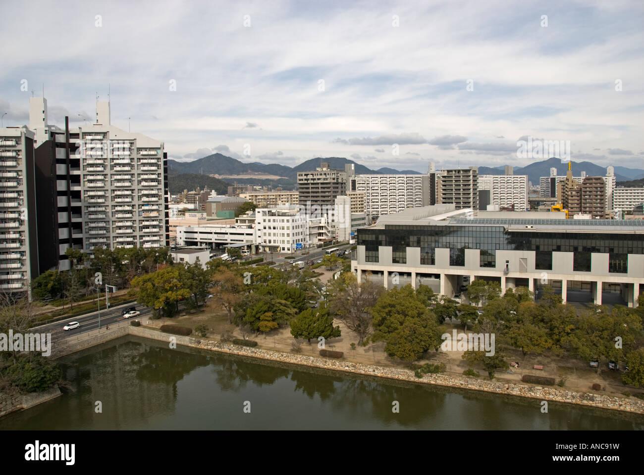 Hiroshima, Japan. View from top of Hiroshima castle showing modern city Stock Photo
