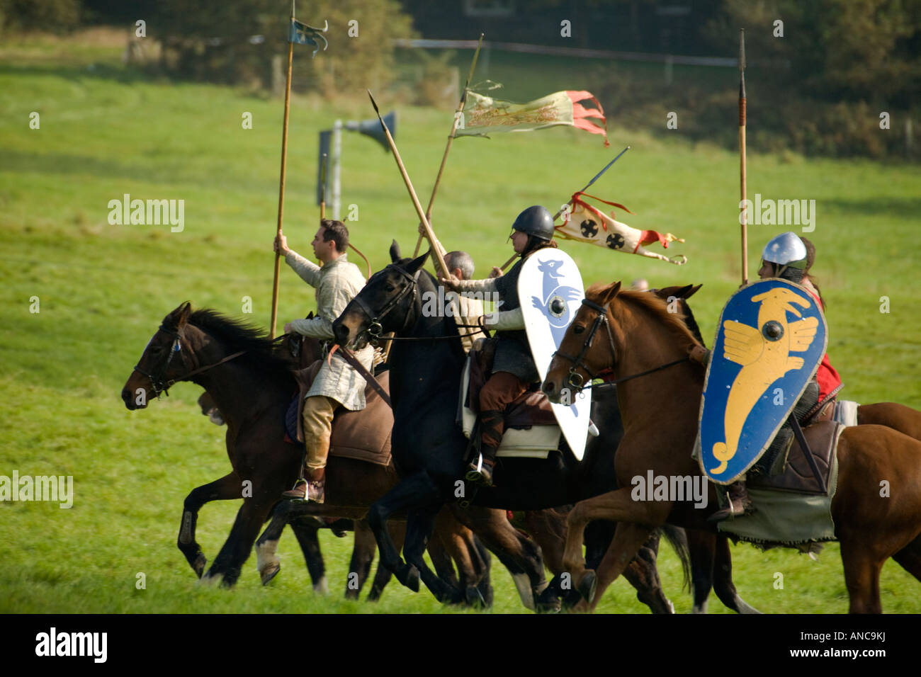 Part of William s cavalry riding at Battle of Hastings re enactment 2007 - Stock Image