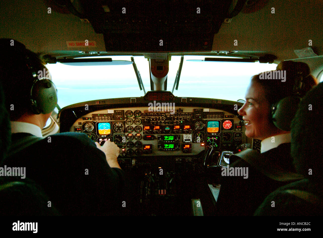 Raytheon Beechcraft 1900D Flight Deck - Stock Image