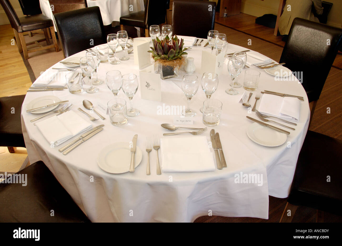 Formal table setting for lunch in Angel Hotel during Abergavenny Food Festival Monmouthshire South Wales UK & Formal Table Setting Stock Photos \u0026 Formal Table Setting Stock ...