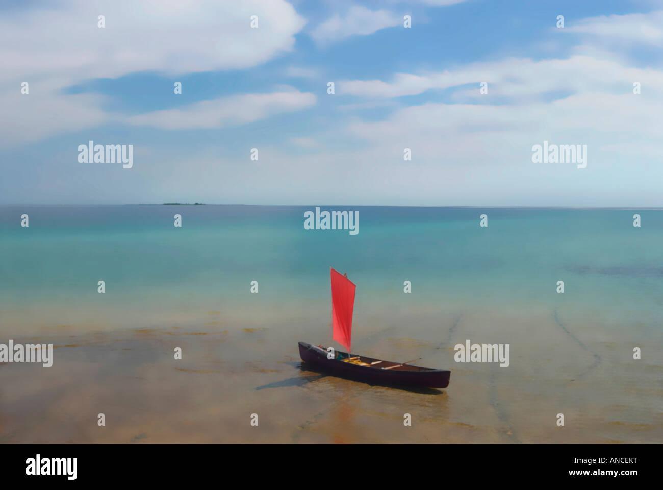 canoe sailing solitude - Stock Image