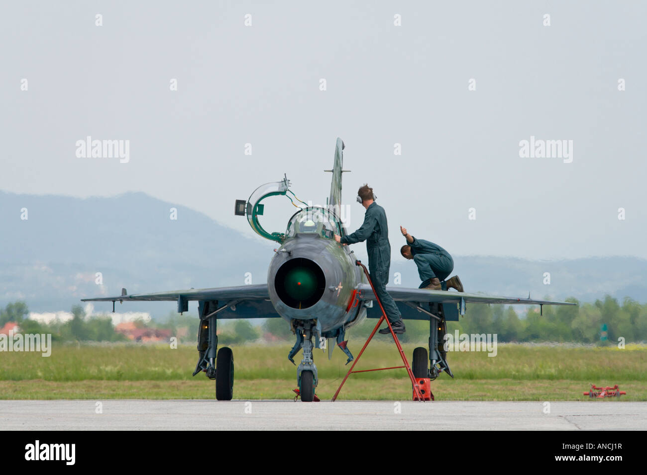 Croatian Air Force MiG-21 UMD maintenance check up after landing Stock Photo