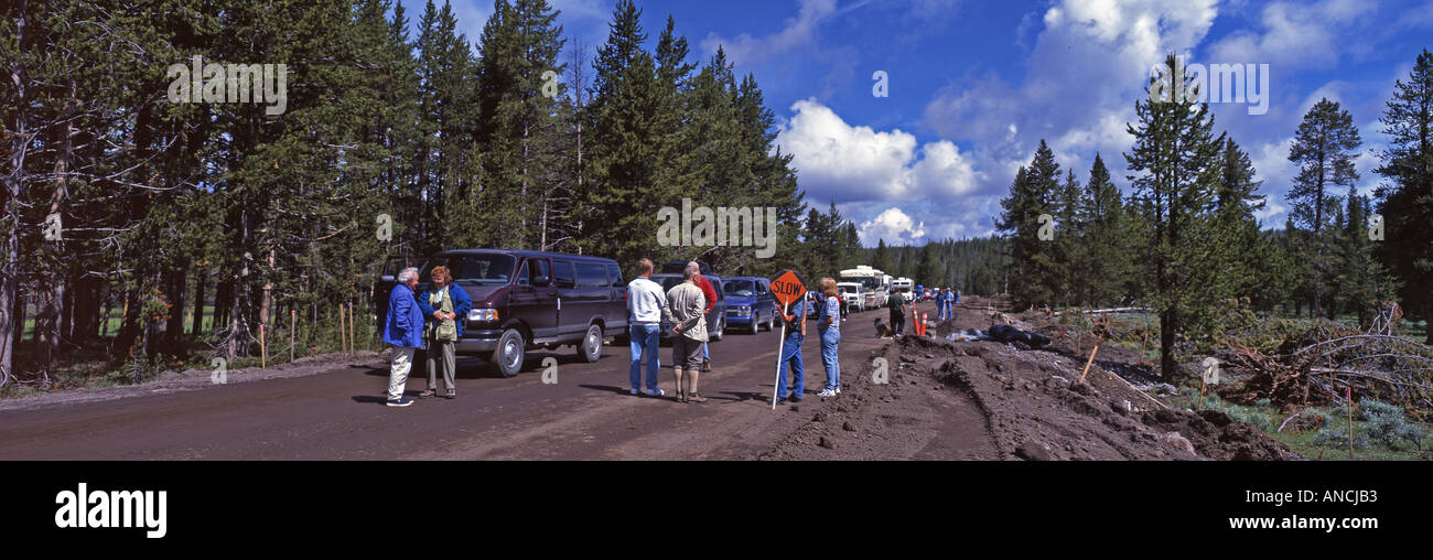 Yellowstone Road repairs in the summer season cause long delays Yellowstone NP USA - Stock Image