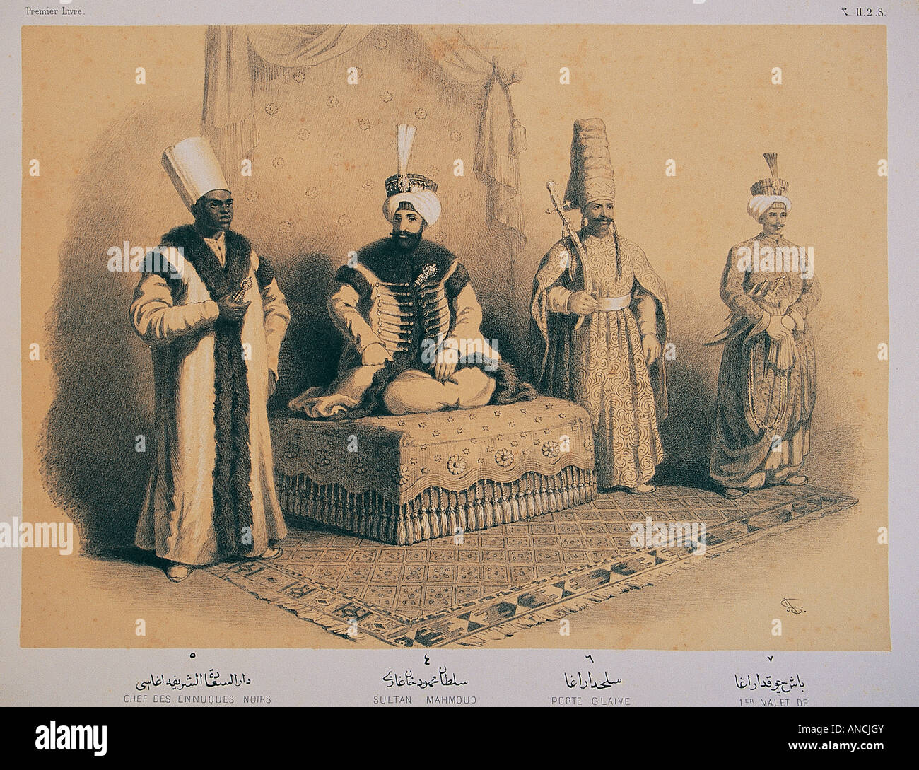 Illustration of an Ottoman sultan Mahmud 2 Khan and Janissary securities , Military Museum Istanbul . Stock Photo
