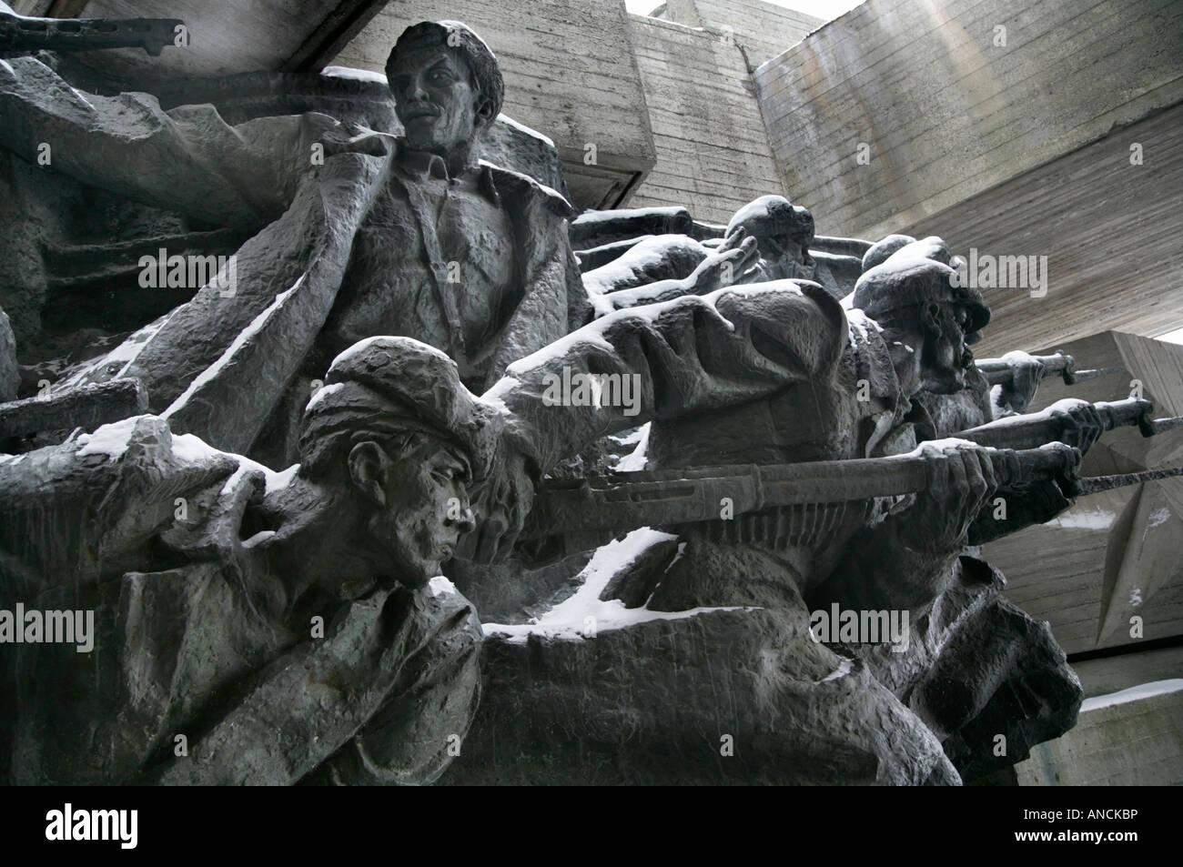 Sculpture depicting resistance to the German invasion of Kiev during the Great Patriotic War (WW2), Kiev, Ukraine. Stock Photo