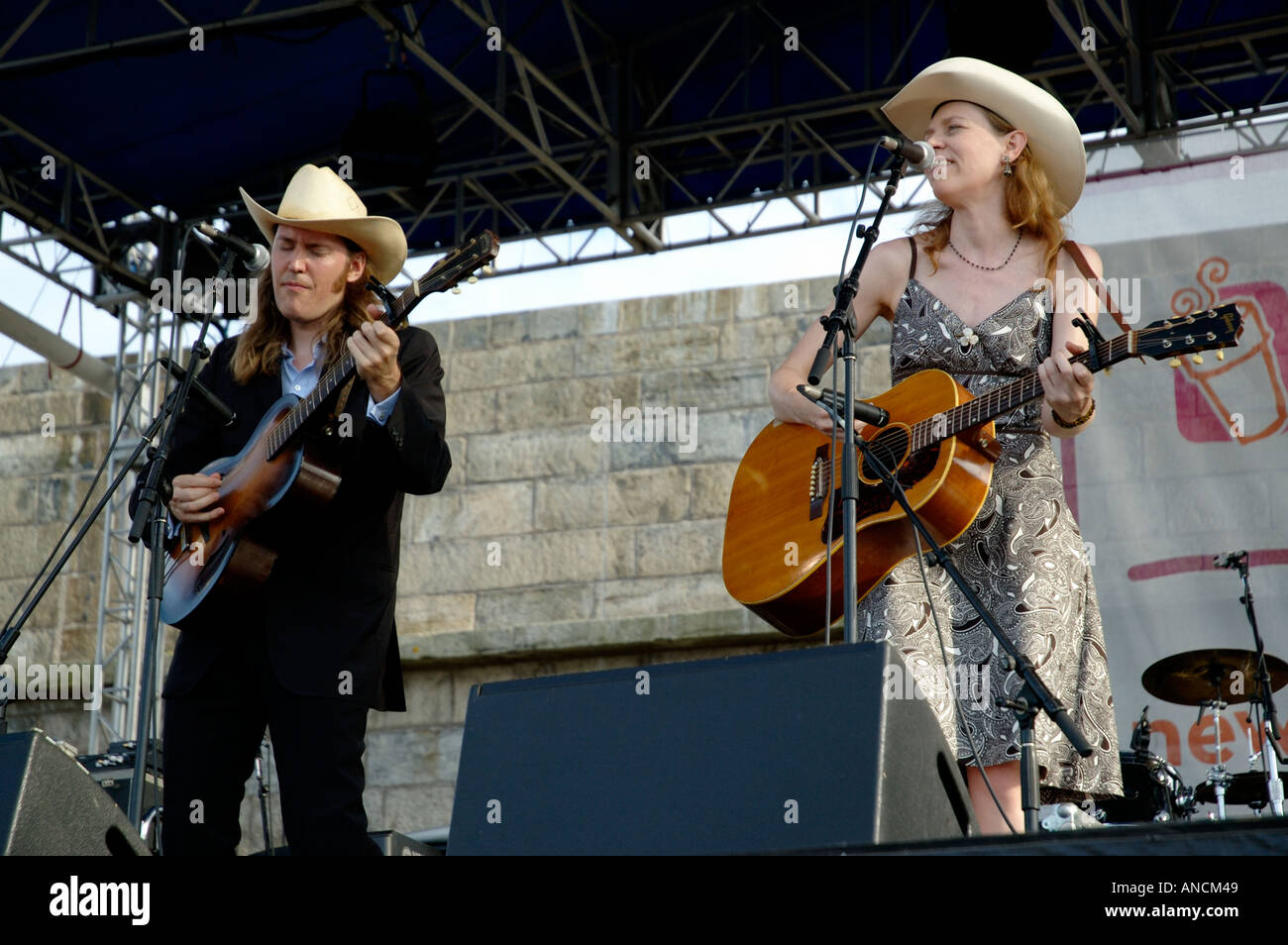 Gillian Welch onstage at the Newport Folk Festival For editorial use only - Stock Image