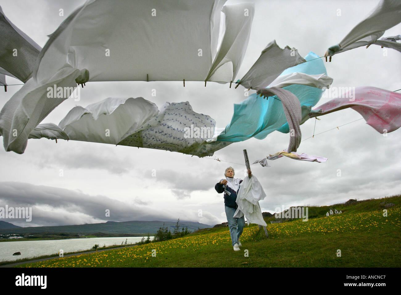 Windy Laundry Eastern Iceland - Stock Image