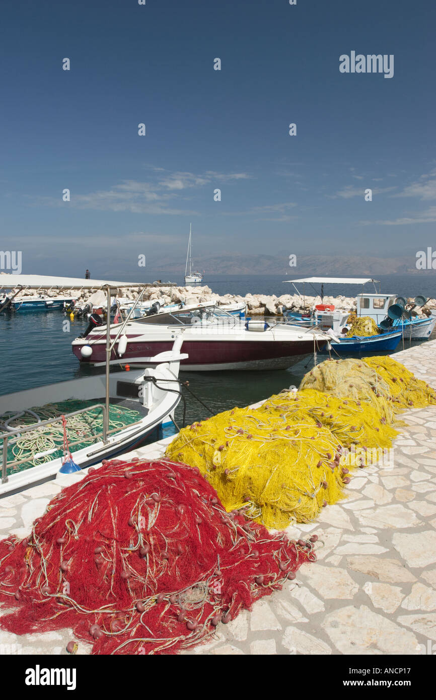 Fishing nets on the pier Kassiopi Corfu island Greece - Stock Image