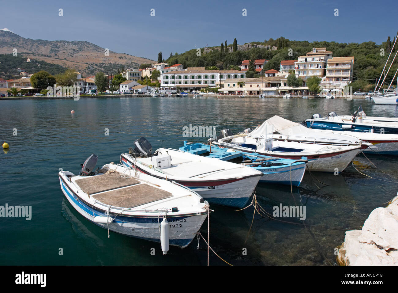 Kassiopi harbour. Corfu island, Greece. Stock Photo