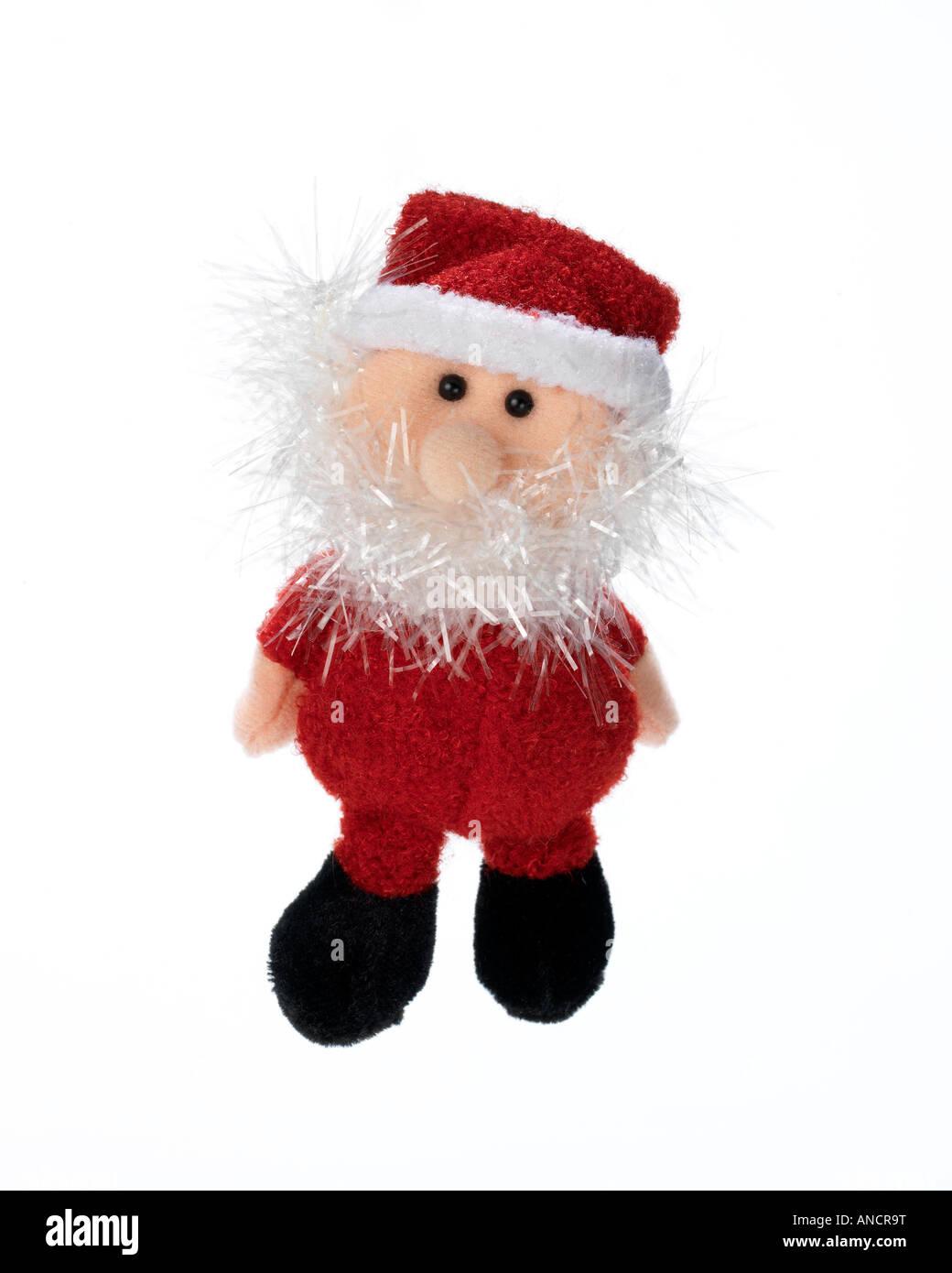 Santa Claus Christmas decoration on white background - Stock Image
