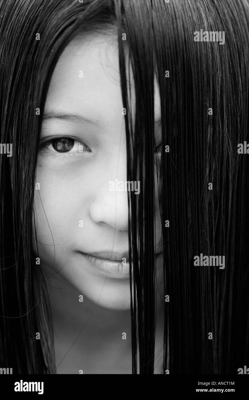 Portrait of a young Oriental girl - Stock Image