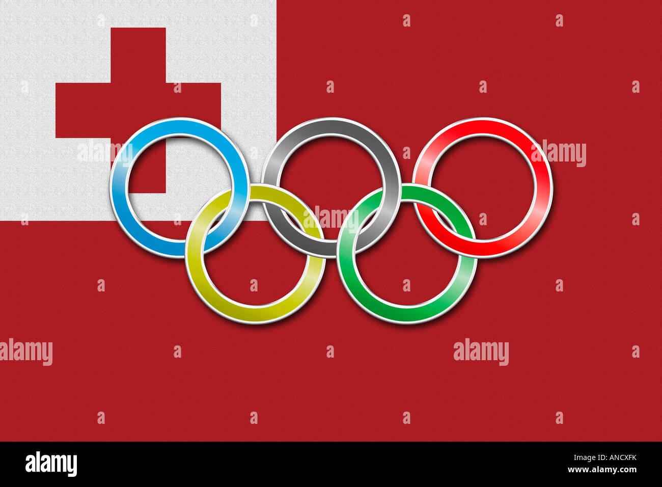 Flag of Tonga with olympic symbol - Stock Image