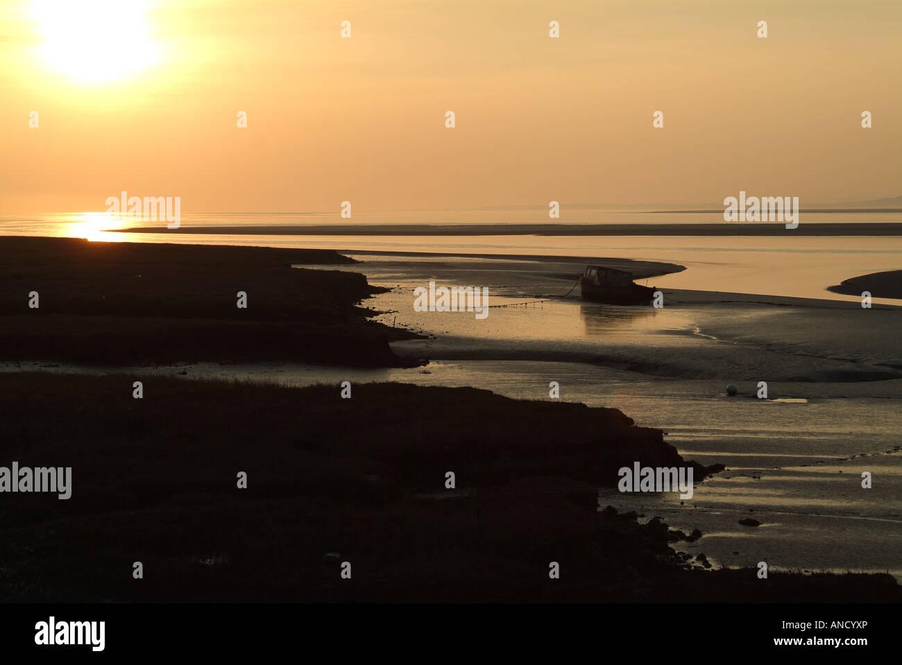 Loughor Estuary in Setting Sun Stock Photo