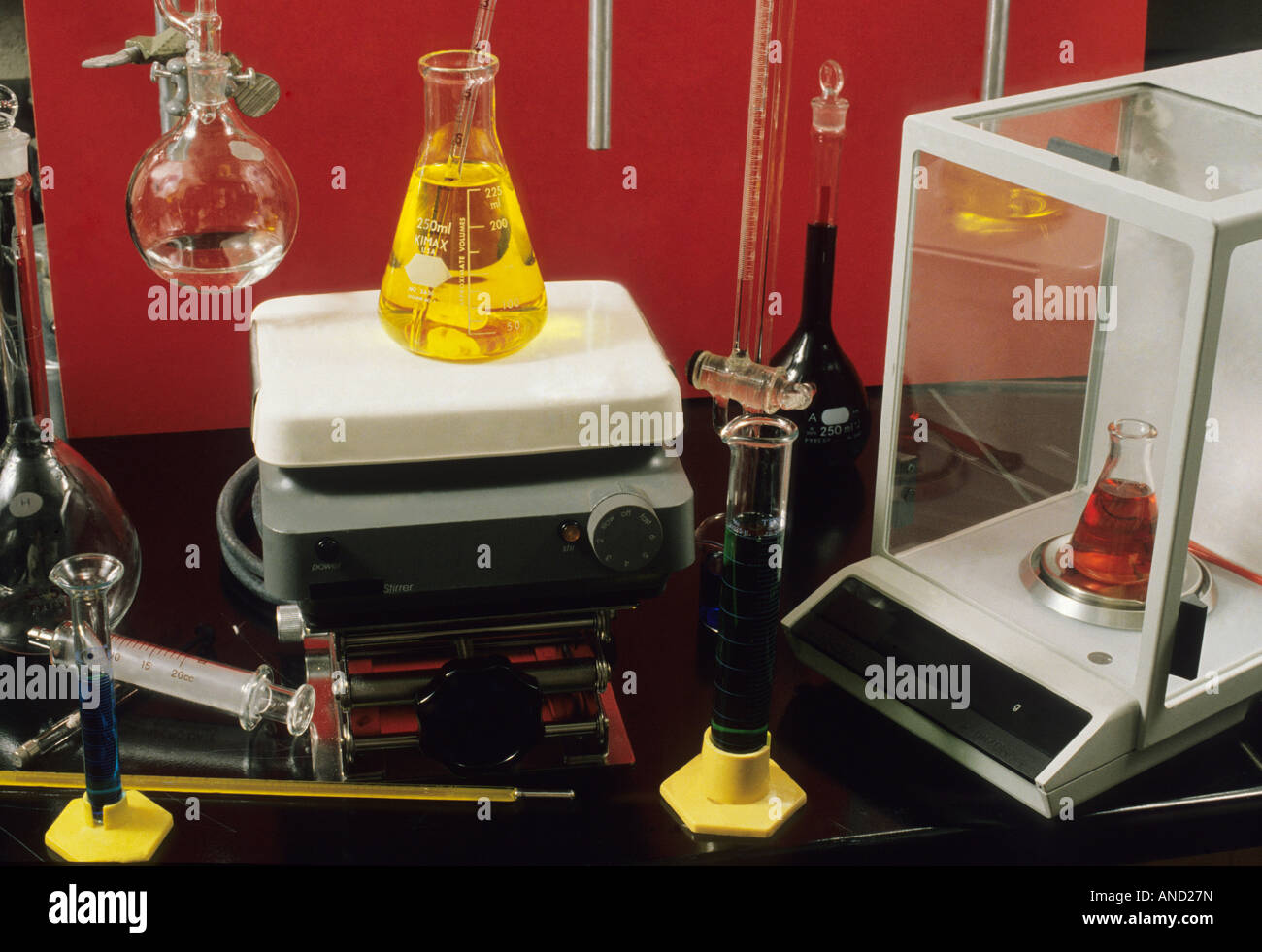 Chemistry equipment beakers test tubes measurements chemicals science vacuum shaker thermometer heat - Stock Image