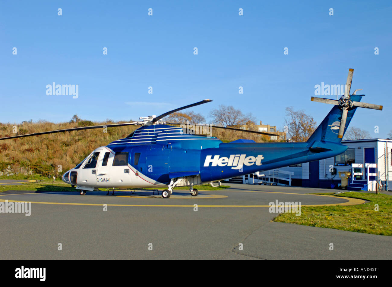 Sikorsky S76 Helicopter Victoria Vancouver Island British Columbia BC Canada - Stock Image