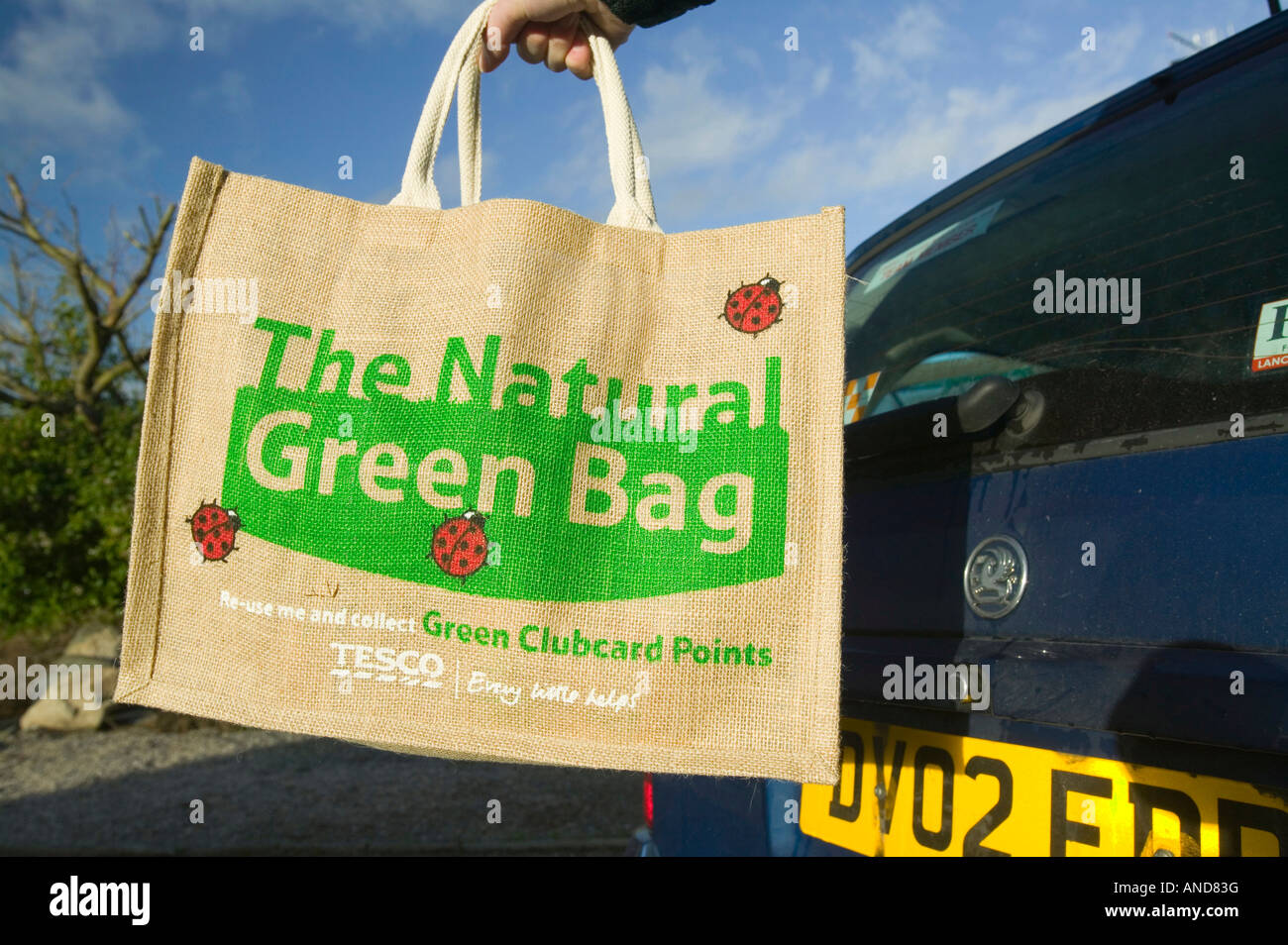 An environmentally friendly bag used to replace plastic bags for shopping with - Stock Image